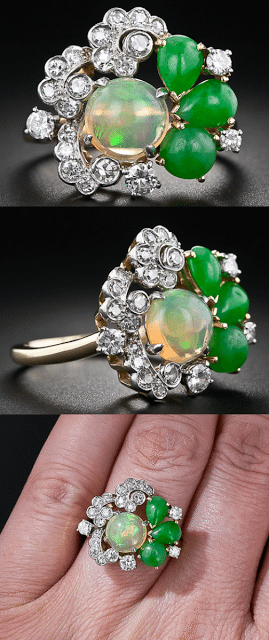 Vintage opal, jade, and diamond cocktail ring, circa 1950. Via Diamonds in the Library.