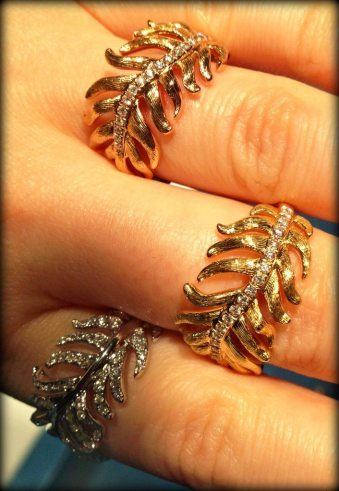 Gold and diamond feather rings from the Mimi So Phoenix collection. Via Diamonds in the Library.