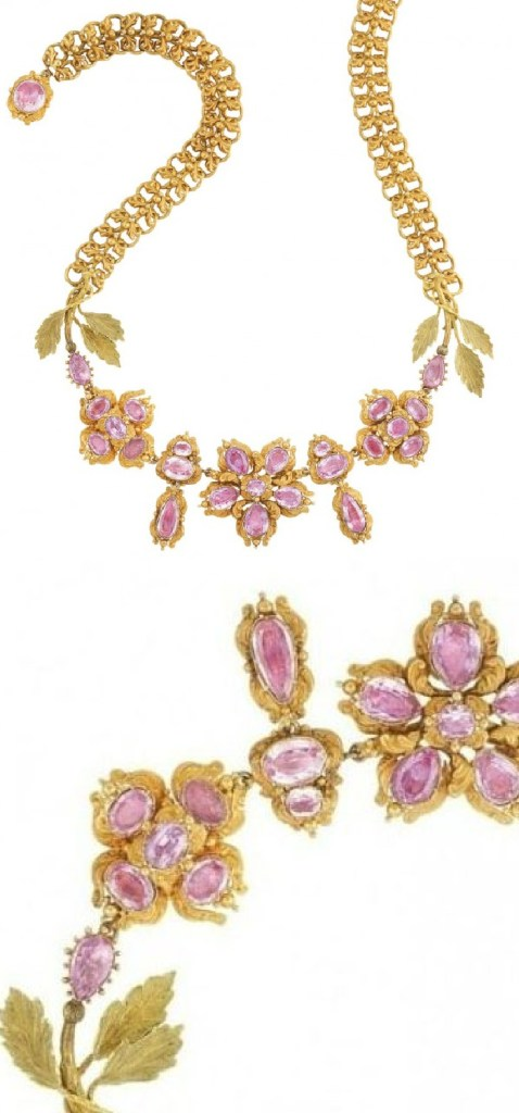 Antique pink topaz and gold necklace, circa 1830.