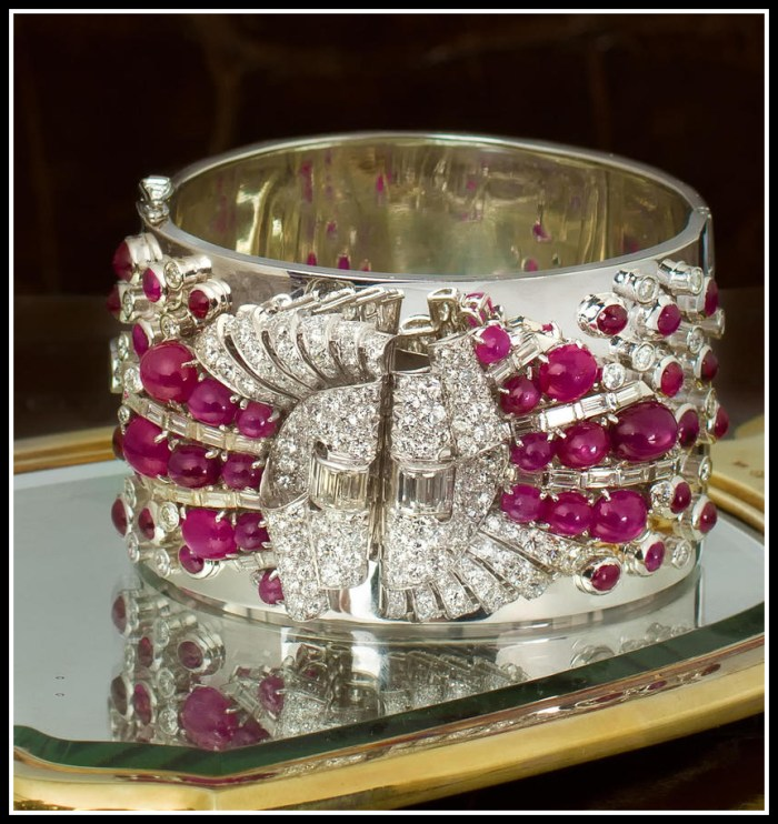 Diamond and ruby cuff bracelet. Via Diamonds in the Library.