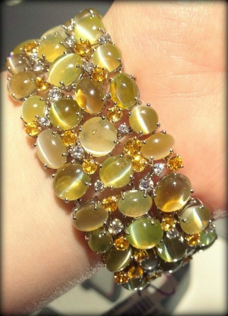Gorgeous cat's eye chrysoberyl and diamond bracelet by Oscar Heyman. Via Diamonds in the Library.