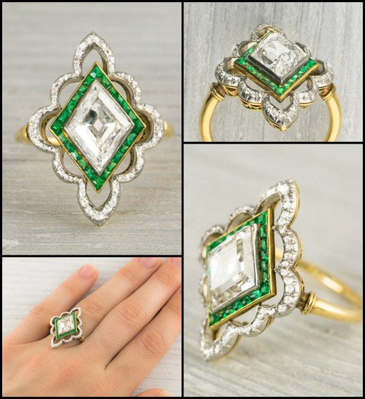 This antique ring is Edwardian and centers a 2.80 carat diamond set in gold and platinum and framed by calibre cut emeralds and single cut diamonds in a scalloped outer border. Circa 1910. Via Diamonds in the Library.