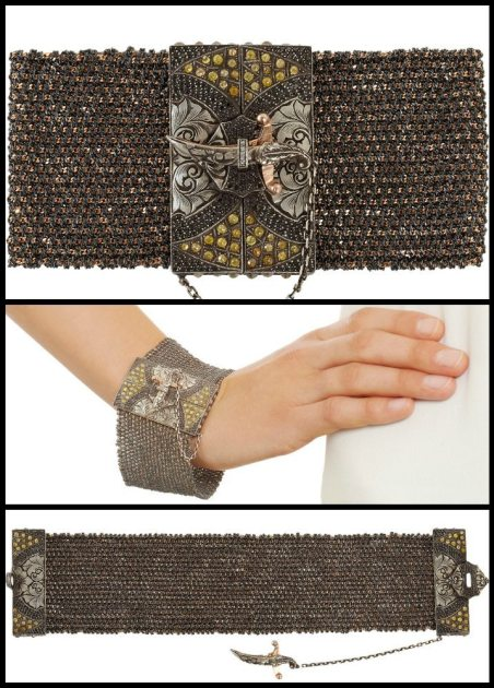This Sevan Biçakçi bracelet is made of woven 18k rose gold and oxidized sterling silver mesh with a centerpiece set with black pave and rough cut diamonds. The bracelet fastens with a sword that dangles from a tiny chain. Via Diamonds in the Library.