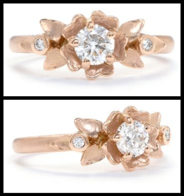 Buttercup diamond engagement ring in rose gold by Megan Thorne. Via Diamonds in the Library.