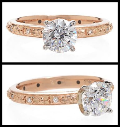 Van Craeynest Engraved Rose Gold Diamond Engagement Ring. Via Diamonds in the Library.