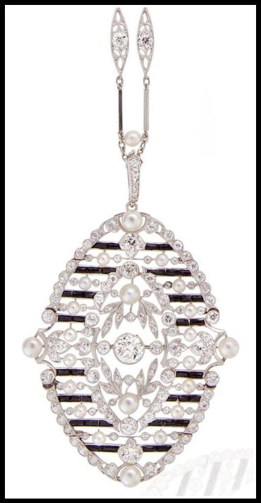 Pendant detail: Antique Belle Epoque diamond and onyx necklace, circa 1910. Via Diamonds in the Library.