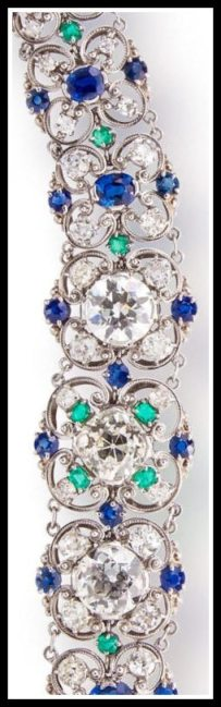 Detail: Diamond, sapphire and emerald bracelet by Louis Comfort Tiffany, circa 1915-1925. Via Diamonds in the Library.
