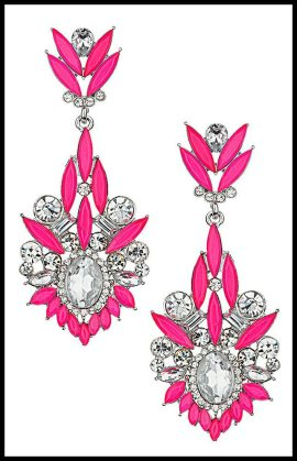 Topshop Pink Mixed Stone Drop Earrings. Via Diamonds in the Library's jewelry gift guide.