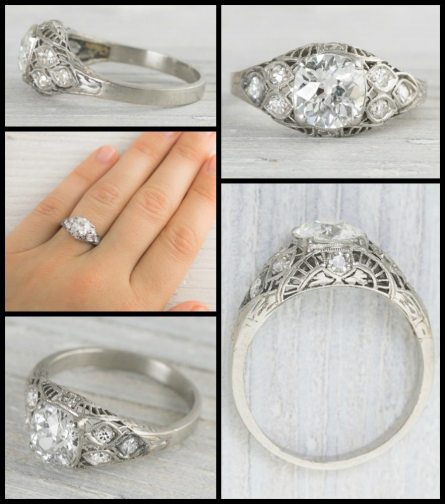 Antique Art Deco engagement ring centered by a 1.18 carat old European cut diamond, and accented by single cut diamonds, lacy openwork in a sunrise or half-moon pattern, and millegrain details. Via Diamonds in the Library.