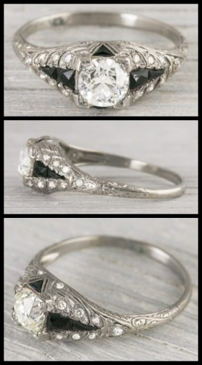 Antique Art Deco engagement ring from 1920, centering a .95 carat old European cut diamond in a square box setting accented with calibre cut onyx and single cut diamonds. Via Diamonds in the Library.