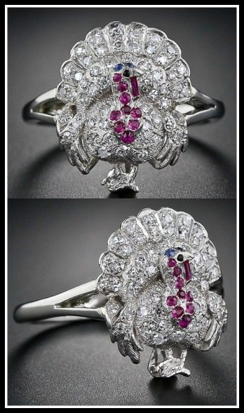 A diamond, ruby, sapphire and onyx turkey ring from 1920-1930. Via Diamonds in the Library.