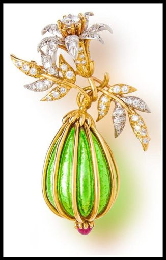 Gold, enamel, diamond and ruby eggplant brooch by Jean Schlumberger for Tiffany & Co. Via Diamonds in the Library.