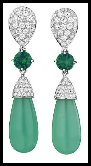 Margherita Burgener earrings with a pavé-set diamond surmount, a circular-cut chrome diopside link, and a chrysoprase drop with a pavé-set diamond cap. Via Diamonds in the Library.