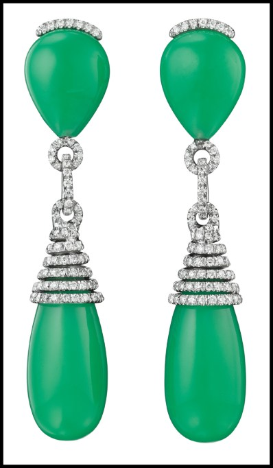 Margherita Burgener pavé-set diamond and chrysoprase earrings. Via Diamonds in the Library.
