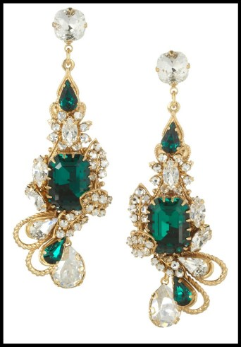 Bijoux Heart Empire gold-plated Swarovski crystal earrings. Via Diamonds in the Library's jewelry gift guide.
