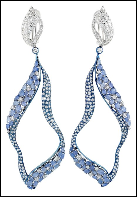 Miiori blue sapphire (just over 14cts) and diamond (11.69cts tw) earrings set in titanium and 18k white gold. Via Diamonds in the Library.