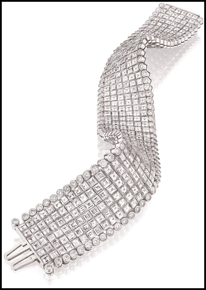 Oscar Heyman 54 carat, 6 row diamond bracelet in platinum. Via Diamonds in the Library.