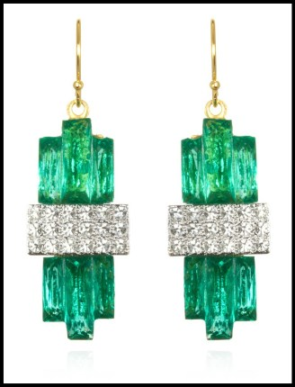 Sandy Hyun Emerald Crystal Deco Earrings. Via Diamonds in the Library's jewelry gift guide.