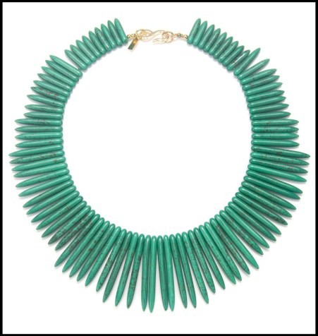 Kenneth Jay Lane Green Spike Necklace. Via Diamonds in the Library's jewelry gift guide.