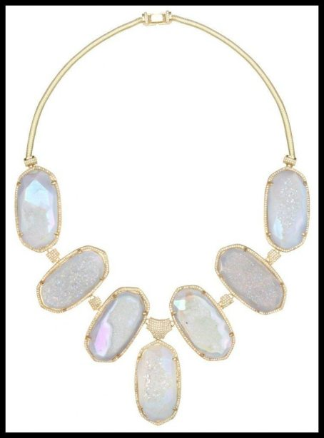 Kendra Scott Pave Oval Bib Necklace in Iridescent Drusy. Via Diamonds in the Library's jewelry gift guide.