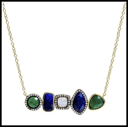 Marcia Moran Lapis and Green Agate Necklace. Via Diamonds in the Library's jewelry gift guide.