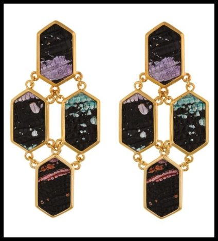 Kara by Kara Ross 4 Piece Hexagon Earrings in Black Splatter. Via Diamonds in the Library's jewelry gift guide.