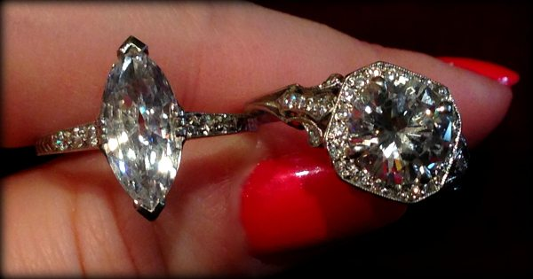 An antique engagement ring and an antique-inspired engagement ring at Lang Antiques. Via Diamonds in the Library.