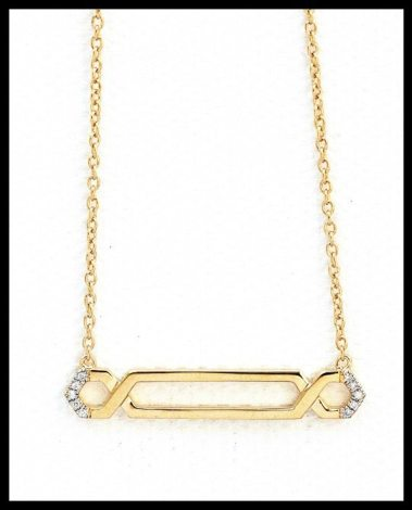 India Hicks endless hexagon necklace in gold and diamonds. Via Diamonds in the Library.