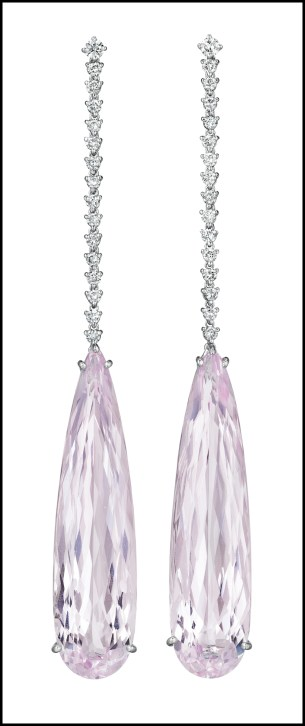 White gold, diamond, and kunzite earrings with kunzite drops totaling 51.23 carats. Via Diamonds in the Library.