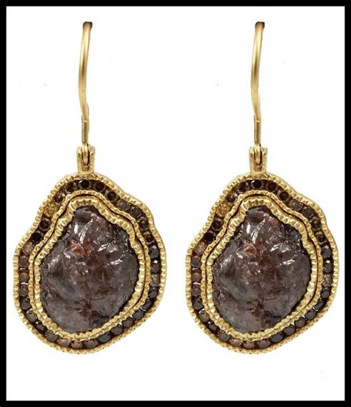 Todd Reed raw diamond drop earrings in gold. Via Diamonds in the Library.