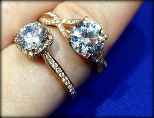 Rose gold and diamond engagement rings by Tacori. Via Diamonds in the Library.