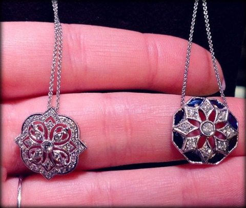 Art Deco inspired sapphire and diamond pendant necklaces by David Spivak. Via Diamonds in the Library.