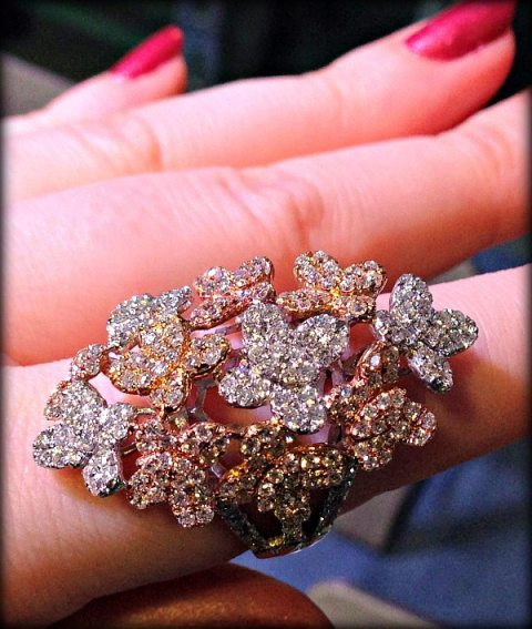 Gold, rose gold, and diamond cocktail ring by Odelia. Via Diamonds in the Library.