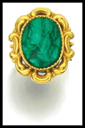 Ring detail: Antique gold and malachite cameo parure, circa 1830 and later. Via Diamonds in the Library.