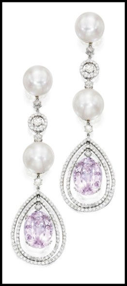 Kunzite, pearl and diamond earrings. Via Diamonds in the Library.