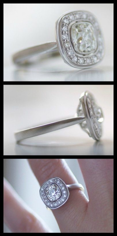 The Ava halo engagement ring by Erika Winters with a 1.42-carat antique cushion-cut diamond in platinum. Via Diamonds in the Library.