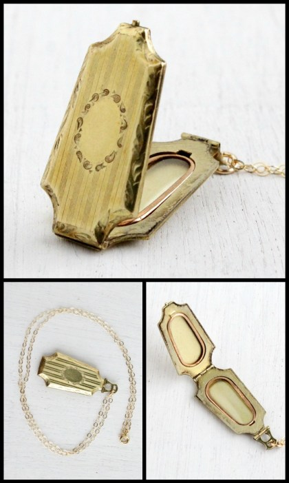 Antique Art Deco locket in gold with embossed floral design. Via Diamonds in the Library.