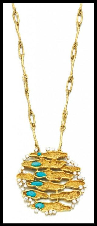 1970's turquoise and diamond pendant necklace with a 30 inch gold chain. Via Diamonds in the Library.