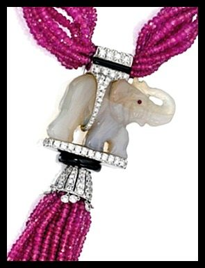 Elephant detail: Jade, ruby bead, onyx, and diamond elephant necklace by Michele della Valle. Via Diamonds in the Library.