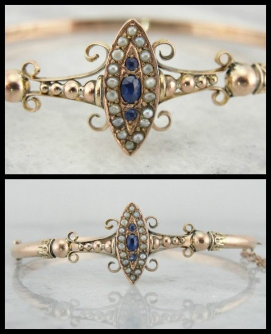 Victorian rose gold, sapphire, and pearl bracelet. Via Diamonds in the Library.