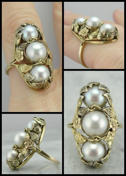 Antique Art Nouveau triple pearl ring in green gold with naturalistic flowers. Via Diamonds in the Library.