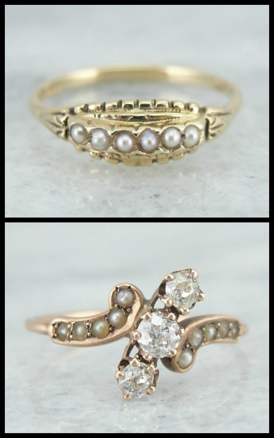 Vintage Pearl Wedding Ring 28 Fabulous Two antique rings Top