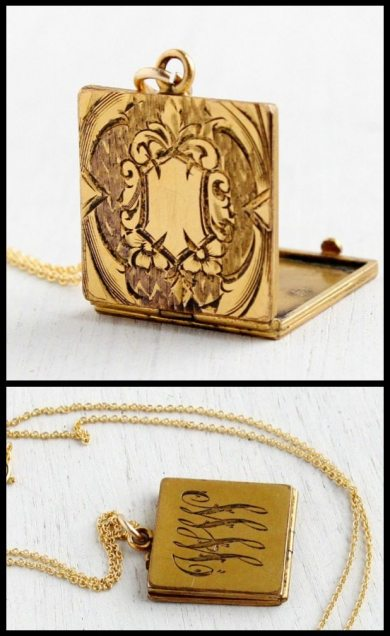 "Early 1900s square gold locket necklace with engraving and ""WW"" monogram. Via Diamonds in the Library."