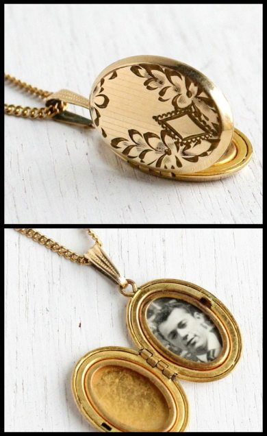 Vintage gold locket from the 1940's with floral engraving and original black and white photo. Via Diamonds in the Library.