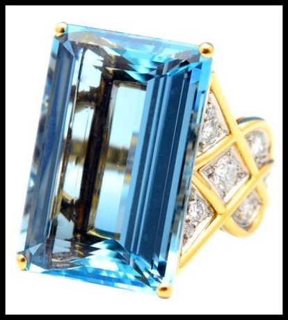 Aquamarine and diamond ring by Cartier. This piece features a 28.50 carat aquamarine and diamonds in 18k gold. Via Diamonds in the Library.