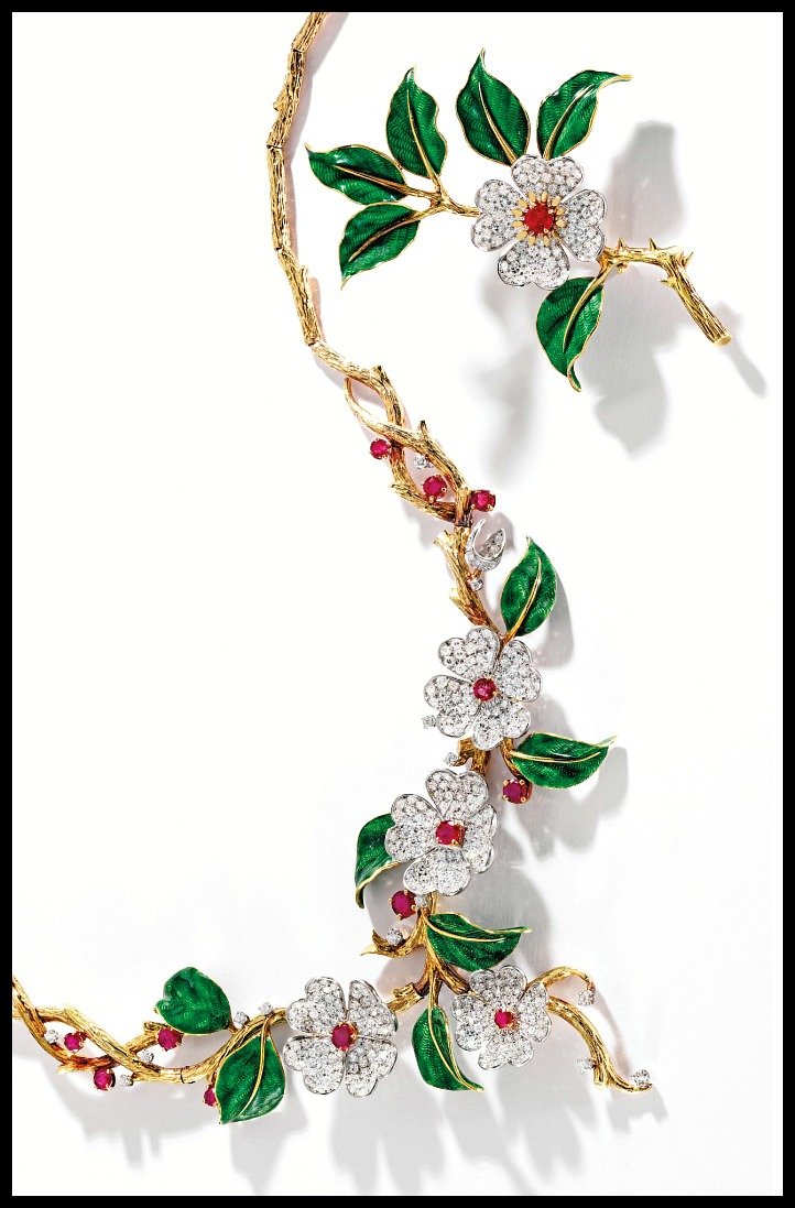 NGold, diamond, enamel, and ruby dogwood flower suite by Boucheron, Paris. Via Diamonds in the Library.