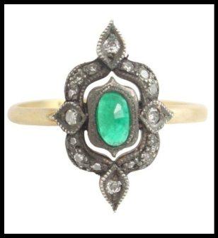 MORE VIEWS ila & i Esta Ring with emerald & diamonds. Via Diamonds in the Library.