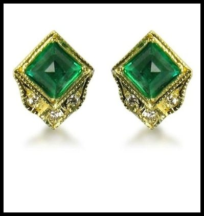 ila & i Earrings in gold with emerald & diamonds, at Catbird. Via Diamonds in the Library.