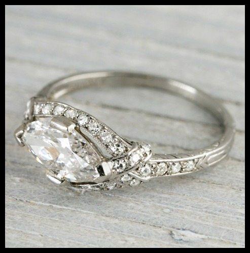 Tiffany Diamond Wedding Ring 46 Luxury Art Deco East West