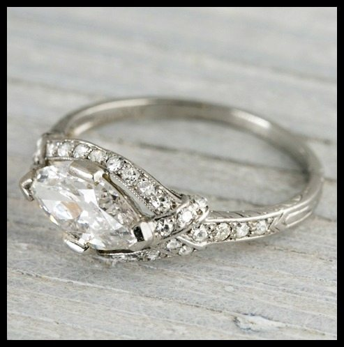 art deco east west marquise engagement ring by tiffany and co circa 1925 - 1920s Wedding Rings